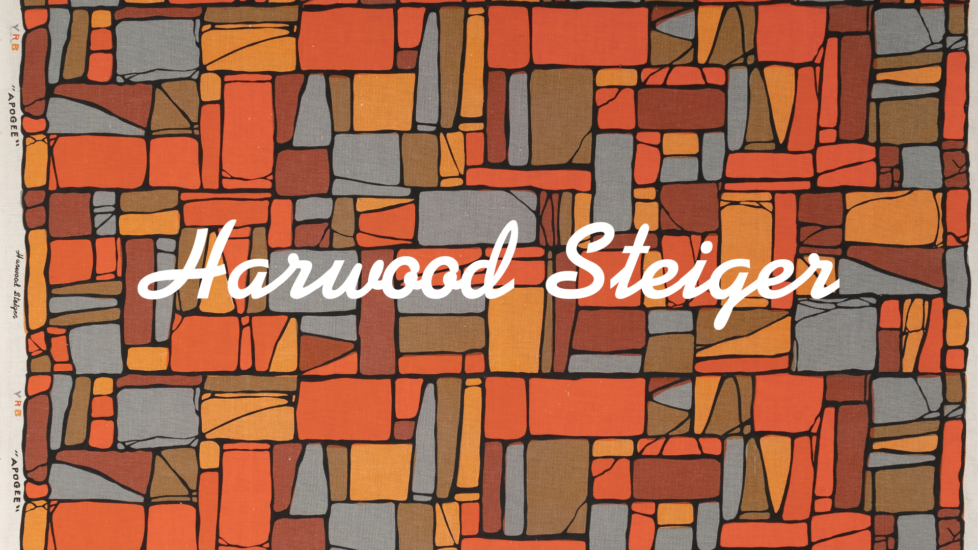A header image with a Harwood Steiger design as a background