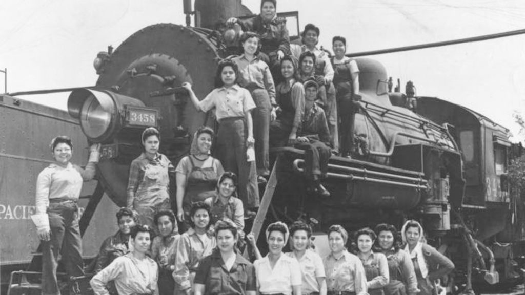 Female Southern Pacific Railroad Company employees during World War II, in the early 1940s. Identified in the photograph are Celia Morelos Pain, Brijida Vasquez, Rebeca Andrade, Ramona Herran Robles, Lily Valenzuela Liu, and Juana Lujan. Image courtesy of the Arizona Memory Project, Arizona Historical Society and Library, Southern Arizona Division.